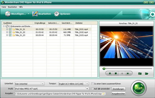 Click to view Wondershare DVD Ripper für iPod & iPhone screenshots