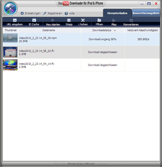 Screenshot vom Programm: YouTube Downloader für iPod & iPhone
